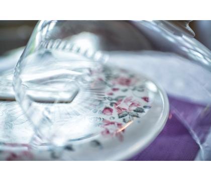 Talerz na ciasto z kloszem i łyżką RÓŻYCZKA