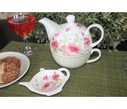 Filiżanka z dzbankiem i podkładką na herbatę MARY ROSE