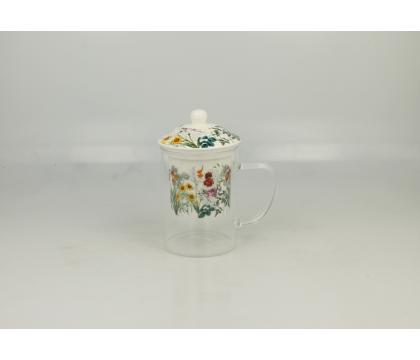 Szklany kubek z porcelanowym filtrem i pokrywką ZIOŁA A