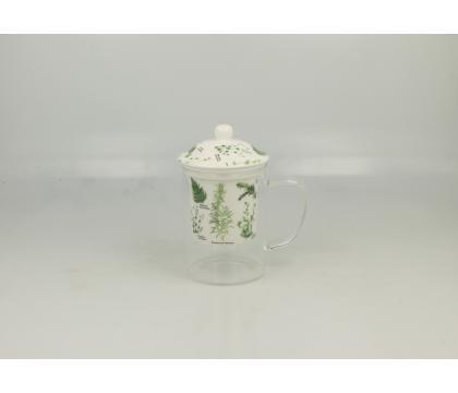 Szklany kubek z porcelanowym filtrem i pokrywką ZIOŁA B