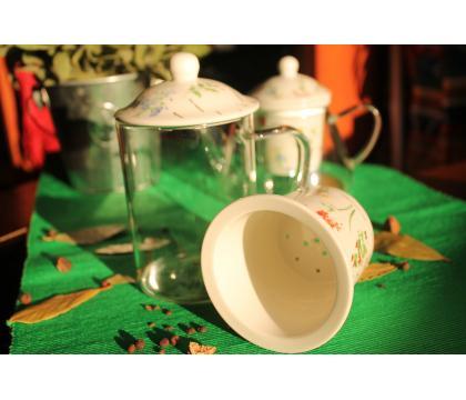 Szklany kubek z porcelanowym filtrem i pokrywką ZIOŁA C