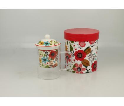 Szklany kubek z porcelanowym filtrem FLOWER