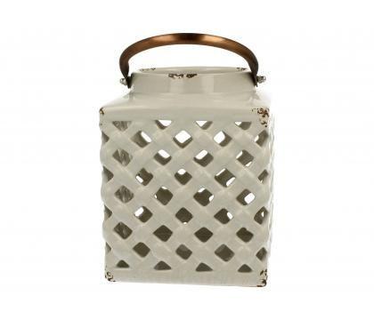 Lampion ceramiczny 18 cm biały YSC074C