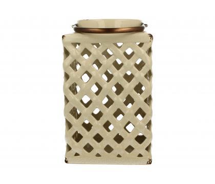 Lampion ceramiczny 26 cm kremowy YSC074B-S7255C