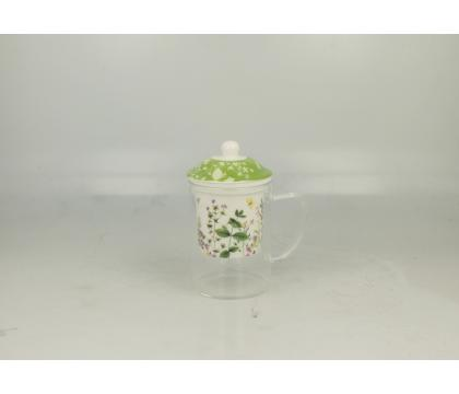 Szklany kubek z porcelanowym filtrem HERBS