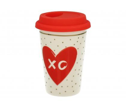 Kubek z silikonową pokrywką LOVE XO
