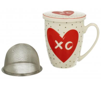 Kubek z zaparzaczem i pokrywką LOVE XO