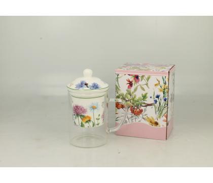 Szklany kubek z porcelanowym filtrem i pokrywką LINDA