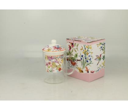 Szklany kubek z porcelanowym filtrem i pokrywką CUBIC