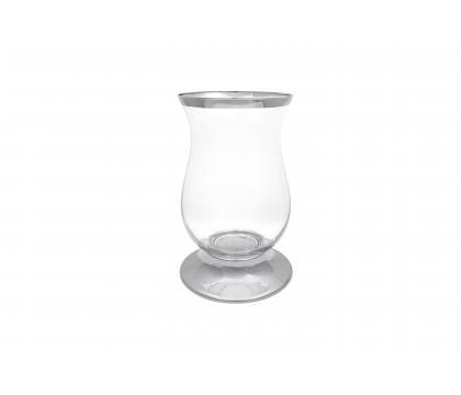 Świecznik metalowy ze szkłem 11,5x18 cm ELEGANCE