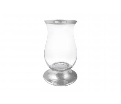 Świecznik metalowy ze szkłem 16,5x25 cm ELEGANCE