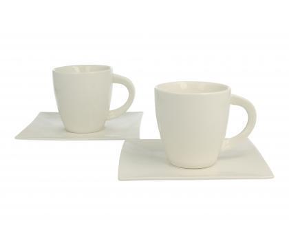 Komplet 2 filiżanek ze spodkami espresso WHITE