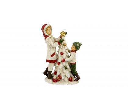 Figurka Dzieci z choinką 20 cm