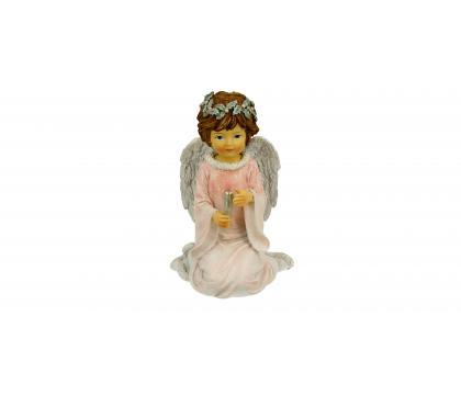 Figurka Aniołek ze świecą różowy 12,5 cm