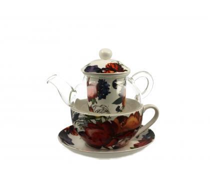 Filiżanka z dzbankiem szklanym / Tea for One WHITE ROSES