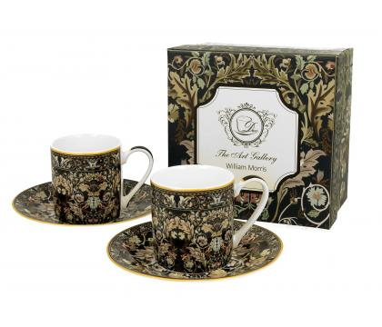 Filiżanki espresso ze spodkami 90 ml komplet 2 szt. Acanthus Leaves William Morris