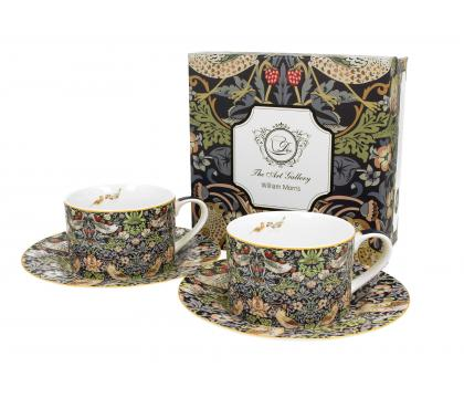 Filiżanki ze spodkami 240 ml komplet 2 szt. STRAWBERRY THIEF William Morris