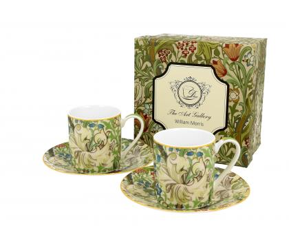 Filiżanki espresso ze spodkiami 90 ml komplet 2 szt. GOLDEN LILY William Morris