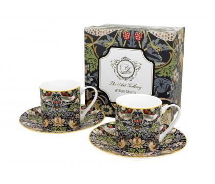 Filiżanki espresso ze spodkiami 90 ml komplet 2 szt. STRAWBERRY THIEF William Morris