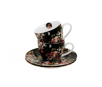 Filiżanki espresso ze spodkami 110 ml komplet 2 szt. VINTAGE FLOWERS BLACK