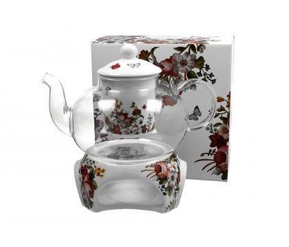 Szklany dzbanek 1000 ml z podgrzewaczem VINTAGE FLOWERS WHITE