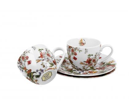 Filiżanki espresso ze spodkami 110 ml komplet 2 szt. VINTAGE FLOWERS WHITE
