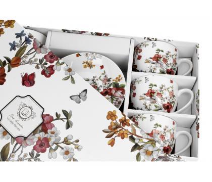 Filiżanki ze spodkami 280 ml komplet 6 szt VINTAGE FLOWERS WHITE