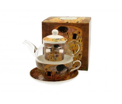 Filiżanka z dzbankiem szklanym / Tea for One THE KISS by Gustav Klimt