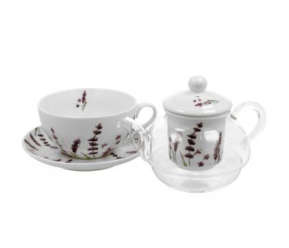 Filiżanka z dzbankiem szklanym / Tea for One CLASSIC LAVENDER